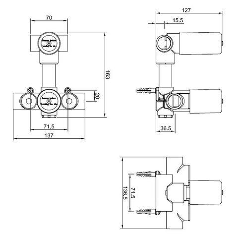Wiesbaden Caral inbouw doucheset rond - mat zwart - met plafondbuis 30cm - 40cm hoofddouche