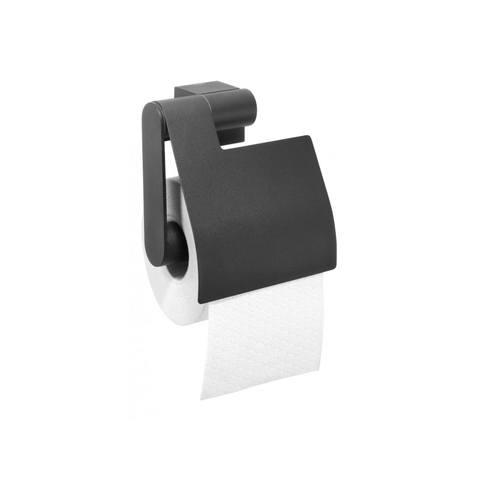 Tiger Nomad toiletrolhouder met klep mat zwart
