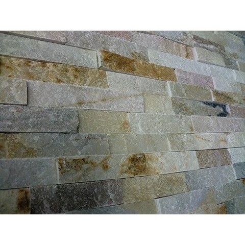 Jabo Schiste flatface stonepanel tegelstroken leisteen 60x15cm beige slate (per stuk)