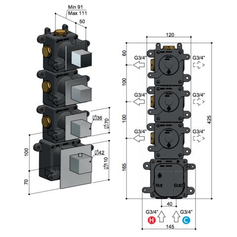 Hotbath Mate MHQ3 High Flow thermostaat met 3 stopkranen geborsteld nikkel