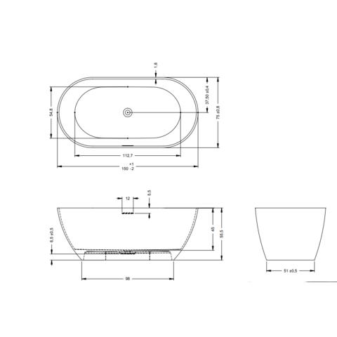 Blinq vrijstaand bad Solid Surface (composiet) 150x75cm