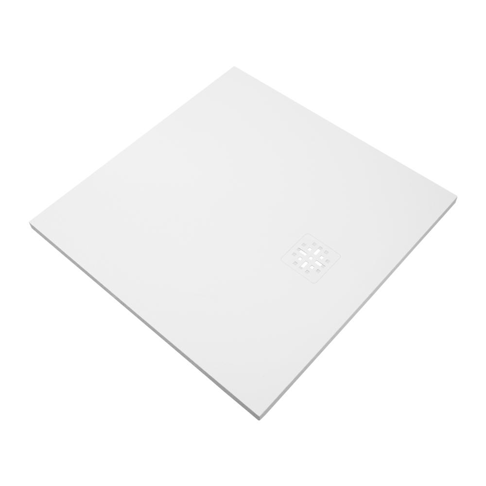 Bewonen Sean douchebak Fine Stone met afdekrooster 90 x 90 cm wit