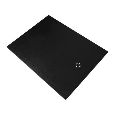 Bewonen Sean douchebak Fine Stone met afdekrooster 120 x 90 cm zwart