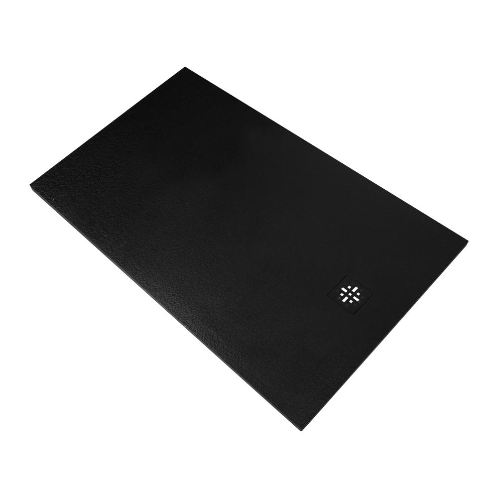 Bewonen Sean douchebak Fine Stone met afdekrooster 140 x 90 cm zwart