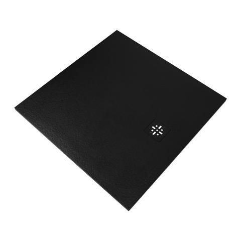 Bewonen Sean douchebak Fine Stone met afdekrooster 100 x 100 cm zwart