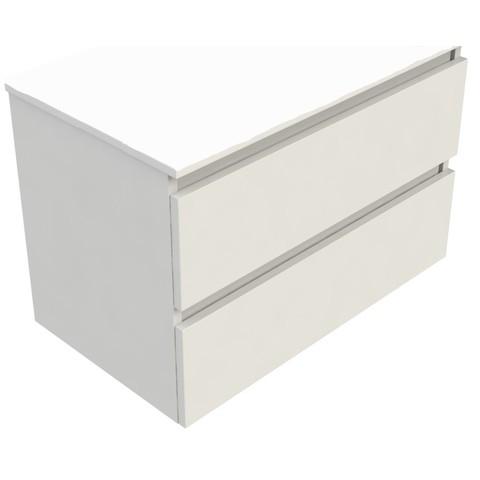 Blinq Tania wastafelonderkast 60x46 cm. 2x lade wit gelakt