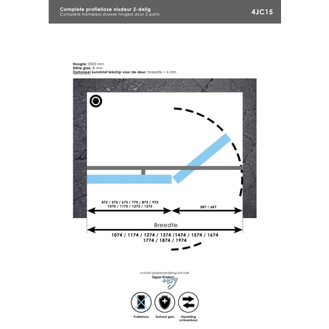 Bewonen Sean 4JC15 2-delige nisopstelling inloopwand met nisdeur aaneengeschakeld 170cm (100/70) Chroom