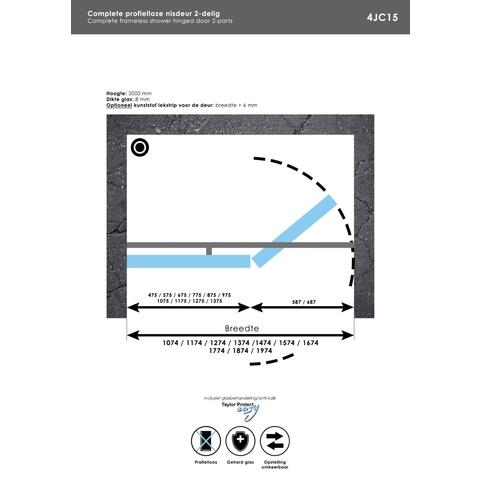 Bewonen Sean 4JC15 2-delige nisopstelling inloopwand met nisdeur aaneengeschakeld 170cm (100/70) RVS geborsteld
