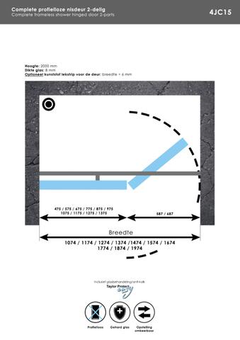Bewonen Sean 2-delige nisopstelling type C inloopwand met nisdeur aaneengeschakeld 190cm (120/70) Chroom