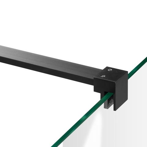 Bewonen Sean 2-delige nisopstelling type C inloopwand met nisdeur aaneengeschakeld 190cm (130/60) mat zwart
