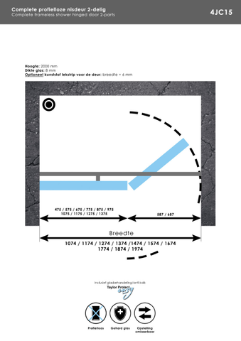 Bewonen Sean 2-delige nisopstelling type C inloopwand met nisdeur aaneengeschakeld 150cm (90/60) Chroom