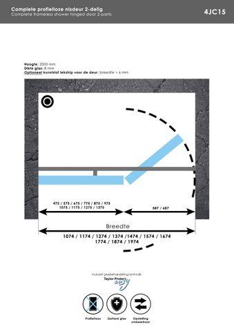 Bewonen Sean 4JC15 2-delige nisopstelling inloopwand met nisdeur aaneengeschakeld 160cm (90/70) mat zwart