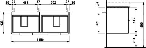 Laufen Base wastafelonderkast 116x44 4 laden mat wit