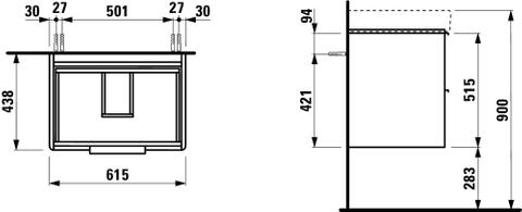 Laufen Base wastafelonderkast 61,5x44 mat wit