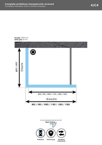 Bewonen Sean 4JC4 inloopdouche reversed 100 x 100 cm chroom
