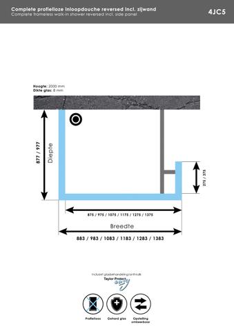 Bewonen Sean 4JC5 inloopdouche reversed met vaste zijwand 100 x 100 x 30 cm mat zwart