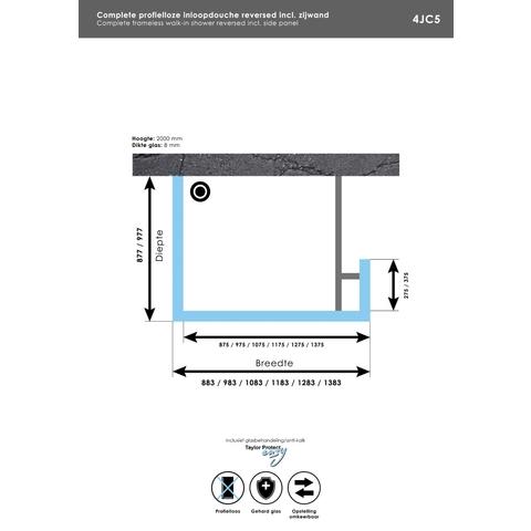 Bewonen Sean 4JC5 inloopdouche reversed met vaste zijwand 100 x 110 x 30 cm chroom