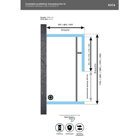 Bewonen Sean 4JC6 inloopdouche vrijstaand 200 x 100 cm RVS geborsteld
