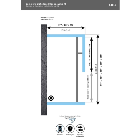 Bewonen Sean 4JC6 inloopdouche vrijstaand 120 x 80 cm chroom