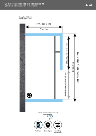 Bewonen Sean 4JC6 inloopdouche vrijstaand 140 x 80 cm chroom