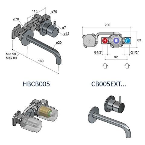 Hotbath Cobber CB005BCP inbouw wastafelkraan uitloop 18cm geborsteld koper PVD