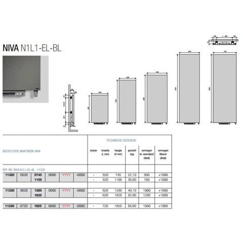 Vasco Niva N1l1-El-Bl designradiator 620x1285 1900w met blower wit s600