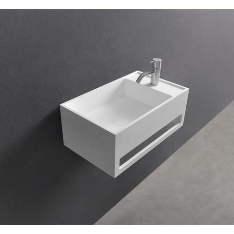 Ideavit Solidcube-TB wastafel 50x30 cm mat wit met kraangat met handdoekhouder