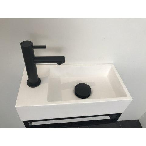 Ink Versus fontein 36cm glans-wit met mat zwart frame - met kraangat - links