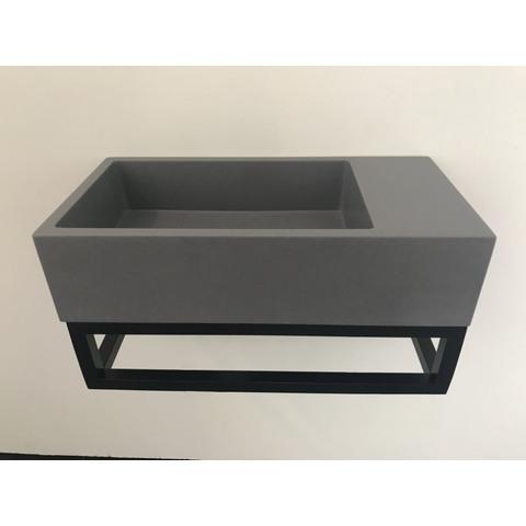 Ink Versus fontein 36cm quartz-grijs met mat zwart frame - zonder kraangat - rechts