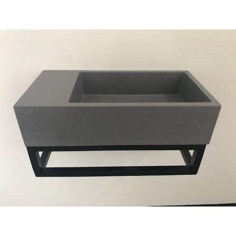 Ink Versus fontein 36cm quartz-grijs met mat zwart frame - zonder kraangat - links