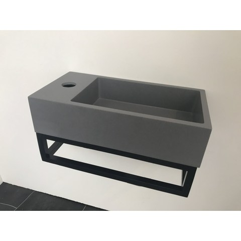 Ink Versus fontein 36cm quartz-grijs met mat zwart frame - met kraangat - links