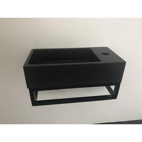 Ink Versus fontein 36cm quartz-zwart met mat zwart frame - met kraangat - rechts