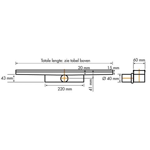 Easydrain Compact 30 douchegoot 90cm
