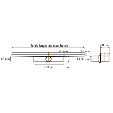 Easydrain Compact 30 douchegoot 110cm