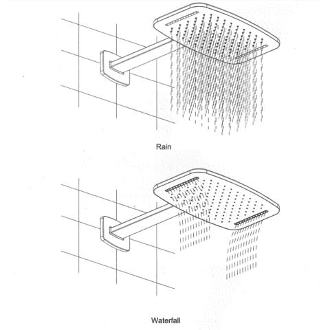 Wiesbaden Roca waterval hoofddouche met douchearm mat zwart