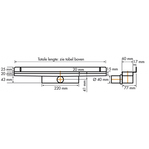 Easydrain Compact 30 Wall douchegoot 70cm