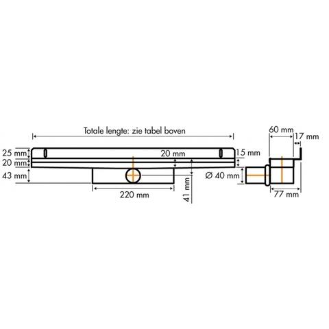 Easydrain Compact 30 Wall douchegoot 90cm