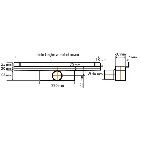 Easydrain Compact 50 Wall douchegoot 100cm