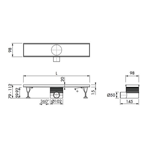 Easydrain Multi inbouwdeel douchegoot 120cm