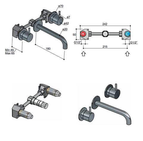 Hotbath Cobber CB005T afbouwdeel 3 gats 18 cm uitloop glans nikkel