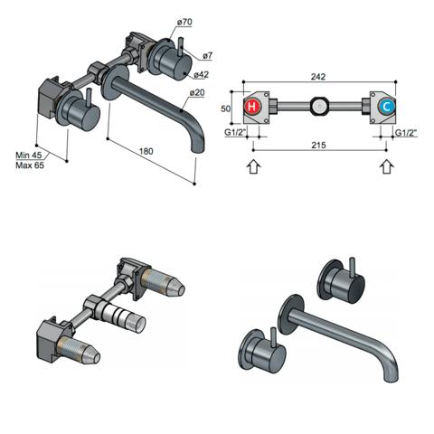 Hotbath Cobber CB005T afbouwdeel 3 gats 18 cm uitloop geborsteld messing PVD