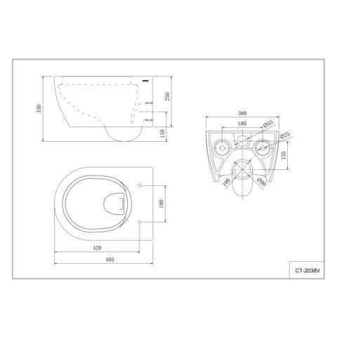 Blinq Fresno N compact wandcloset spoelrandloos zerokal 48x36 cm. wit