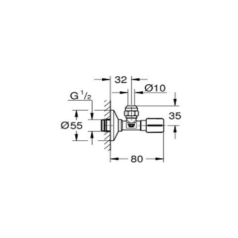 Grohe  hoekstopkraan 1/2'' x 3/8'' supersteel