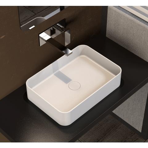 Ideavit Solidthin-SQ opzetwastafel 50x38cm mat wit