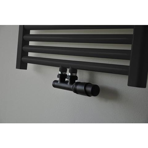 Wiesbaden Riko thermostatisch onderblok haaks-rechts mat zwart mat zwarte knop