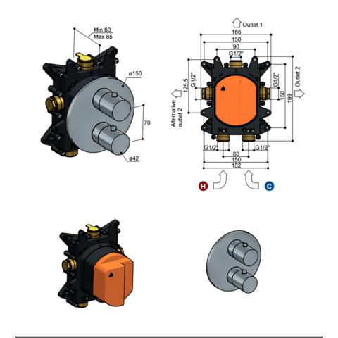 Hotbath Archie AR009 Inbouwthermostaat met 2-weg omstel RVS 316