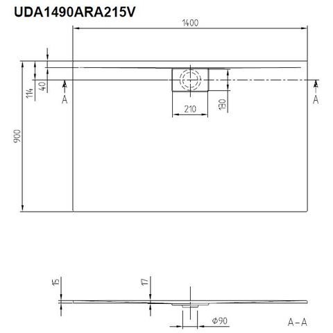 Villeroy & Boch Architectura douchebak 140 x 90 x 4.8 cm. metalrim bruin