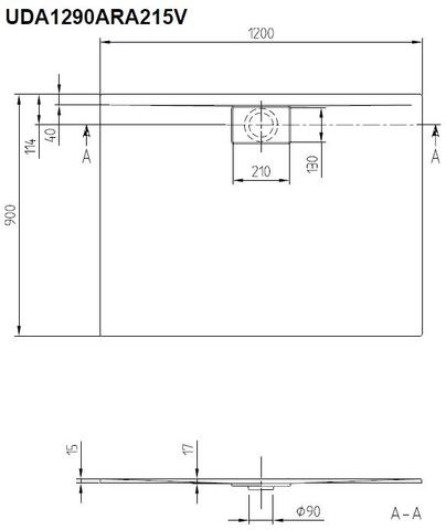 Villeroy & Boch Architectura douchebak 120 x 90 x 4.8 cm. metalrim bruin