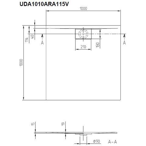 Villeroy & Boch Architectura douchebak 100 x 100 x 4.8 cm. metalrim antraciet