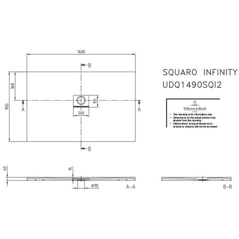 Villeroy & Boch Squaro Infinity douchebak 140 x 90 x 4 cm. grijs